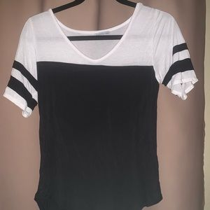 Charlotte Russe black and white sleeve shirt